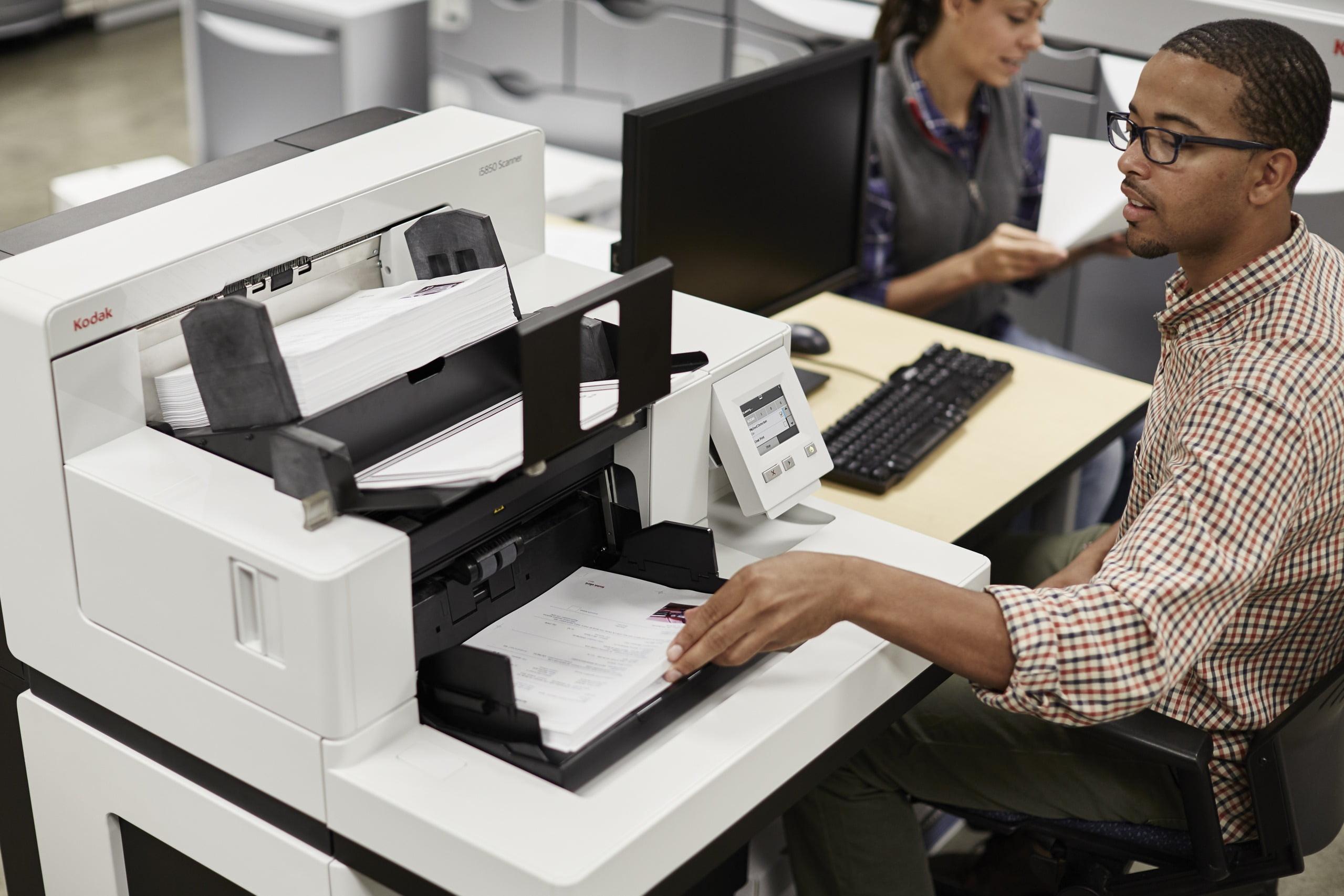 Man scanning document